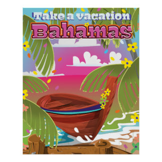 Take a Vacation! Bahamas cartoon travel print. Poster
