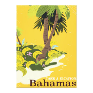 Take a Vacation Bahamas vintage travel poster Canvas Print