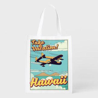 Take a vacation! Hawaii travel cartoon Reusable Grocery Bag