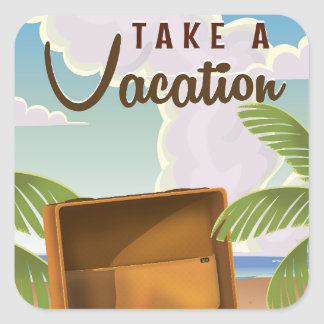 Take a Vacation vintage travel poster Square Sticker