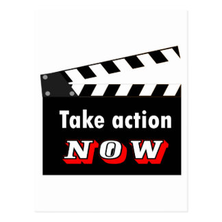 TAKE ACTION NOW CLAPPERBOARD POSTCARD