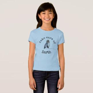 Take care of Earth Penguin Shirt for girl's