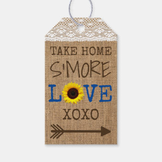Take Home S'More Burlap Sunflower Change Colors Gift Tags