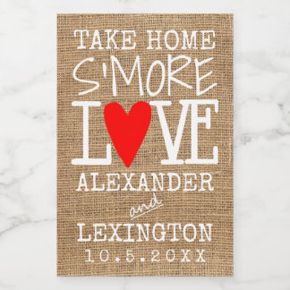Take Home S'More Love Country Burlap Look Food Label