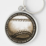 Take Me Out to the Ball Game Silver-Colored Round Keychain