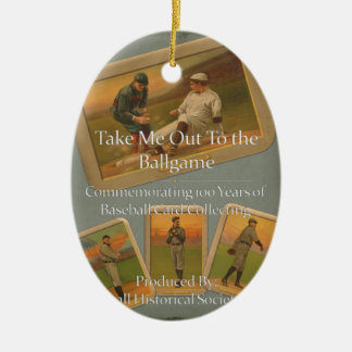 Take Me Out To the Ballgame Ceramic Oval Ornament