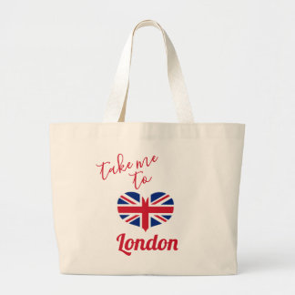 Take me to London  Heart Shaped UK Flag Union Jack Large Tote Bag