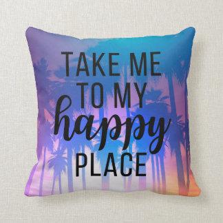 Take Me To My Happy Place Boho Beach & Palm Trees Throw Pillow