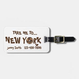 Take Me To New York NYC Marble Rye Bagel Bag Tag