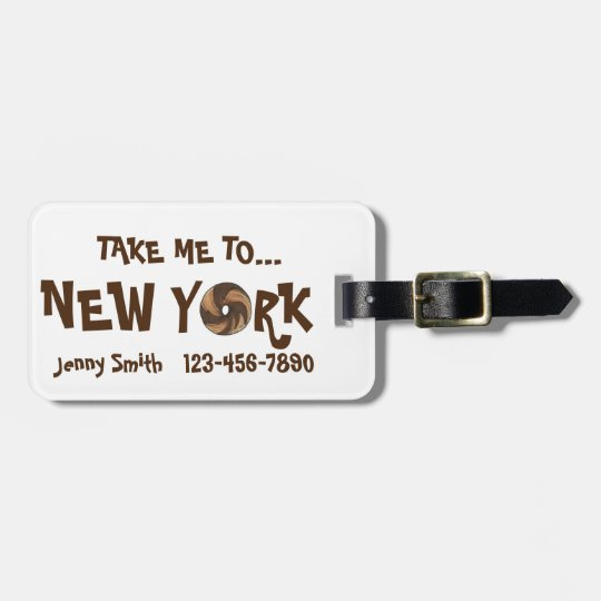 Take Me To New York NYC Marble Rye Bagel Bag Tag