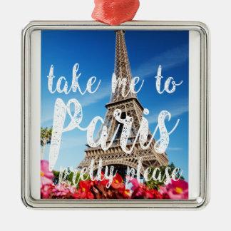 take me to Paris Silver-Colored Square Ornament