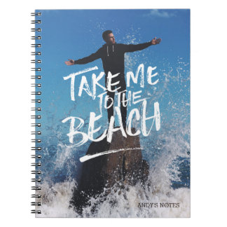 Take Me to the Beach Typography Photo Template Spiral Notebook
