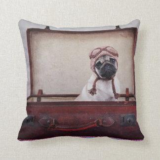 """Take me with you"" Pug Puppy Throw Pillow. Throw Pillow"