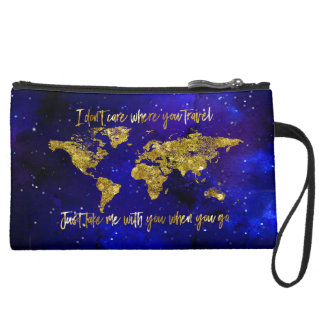 """""""Take me with you when you go"""" Map Wristlet Purse"""