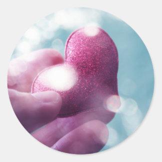 Take my heart round sticker