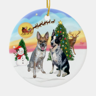 Take Off - Two Australian Cattle Dogs Ceramic Ornament