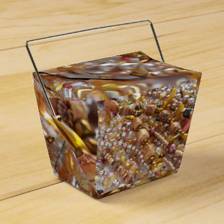 Take Out Favor Box- Earth Tones Bead Print Favor Box