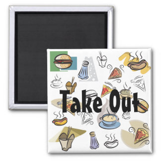 Take Out Night Square Magnet