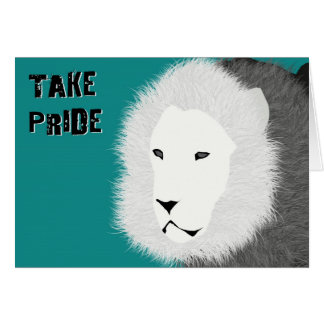 Take Pride Note Card - Lion in Teal