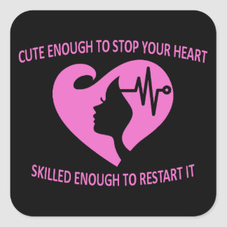 take your breath away female medical professional square sticker