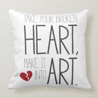 Take your broken heart, make it into art. throw pillow
