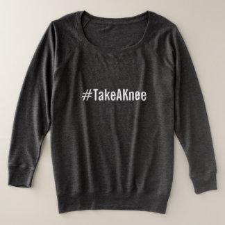 #TakeAKnee, bold white text on smoke gray Plus Size Sweatshirt