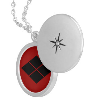 Takeda kamon Japanese samurai clan black on red Silver Plated Necklace