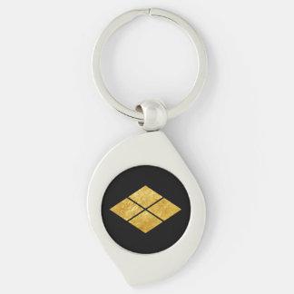 Takeda kamon Japanese samurai clan faux gold Keychain