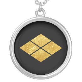 Takeda kamon Japanese samurai clan faux gold Silver Plated Necklace