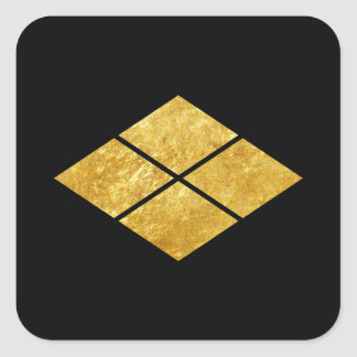 Takeda kamon Japanese samurai clan faux gold Square Sticker
