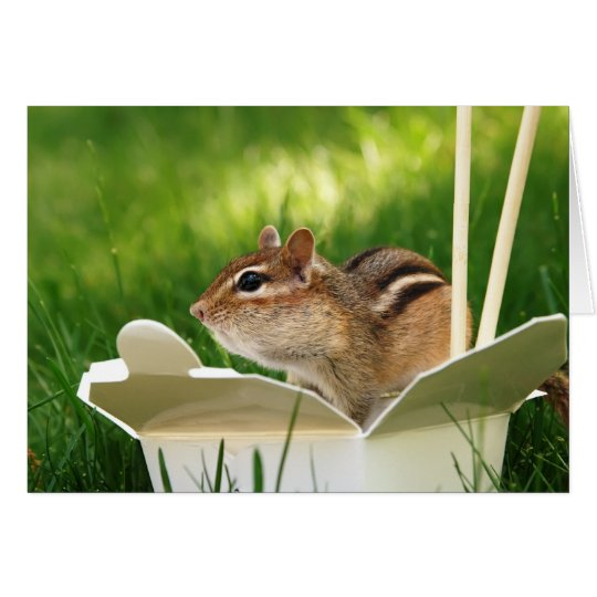 Takeout Loving Chipmunk Card