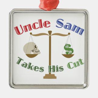 Takes His Cut Silver-Colored Square Ornament