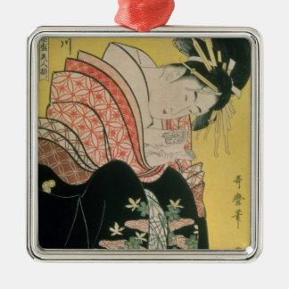 Takigawa from the Tea-House, Ogi Silver-Colored Square Ornament
