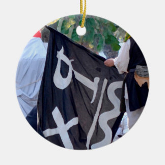 taking down pirate flag poster image ceramic ornament
