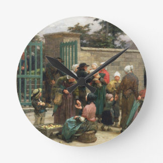 Taking in Foundlings (oil on canvas) Wall Clocks