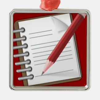 Taking Notes Silver-Colored Square Ornament