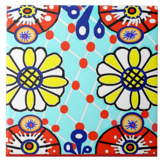 Talavera Ceramic Tile - Cinco de Mayo - Flowers -