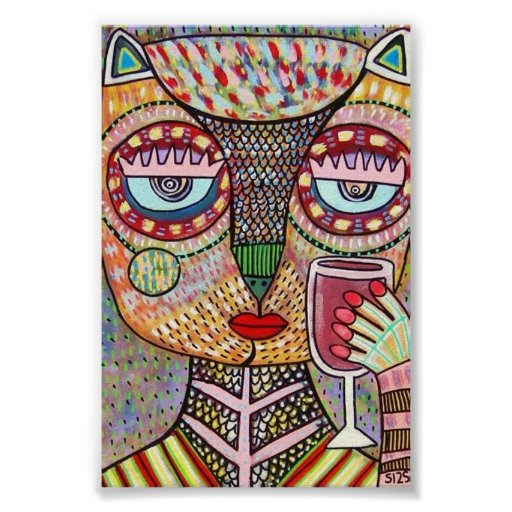 Talavera Feathers Owl Drinking Red Wine Poster