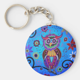 Talavera Owl Mexican Painting Basic Round Button Keychain