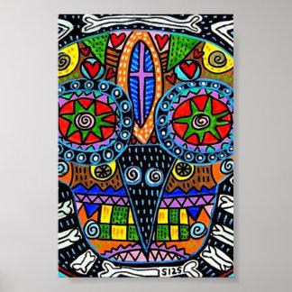 Talavera Owl Skull Poster