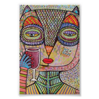 Talavera Pink Owl Drinking Red Wine Poster