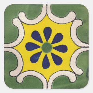 Talavera tile in green & yellow square sticker