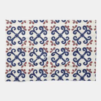 Talavera tile Kitchen towel in blue & white