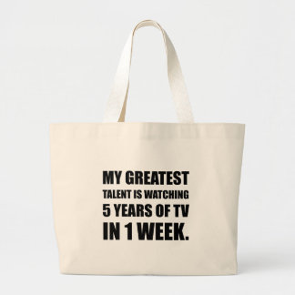 Talent Watching Television Large Tote Bag