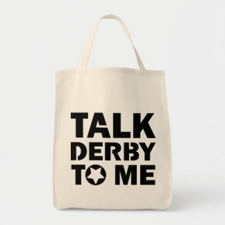 Talk Derby to Me, Roller Derby Girl Design Tote Bag