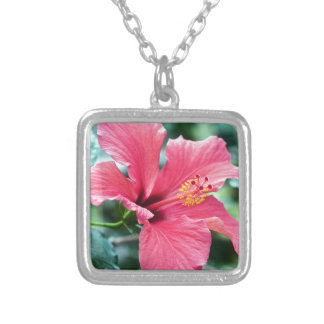 TALK HIBISCUS FLOWER SILVER PLATED NECKLACE
