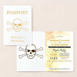 Talk Like a Pirate Party Gold Foil Passport Foil Card