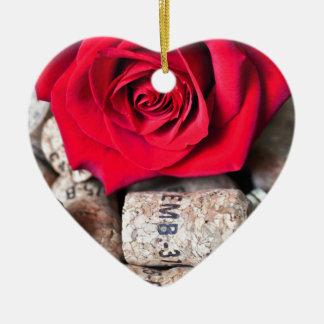 TALK ROSE with cork Ceramic Heart Ornament