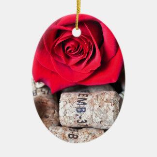 TALK ROSE with cork Ceramic Oval Ornament
