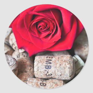TALK ROSE with cork Classic Round Sticker